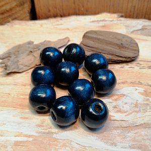 20 Holzperlen in dunkelblau 14 mm Loch 2 mm