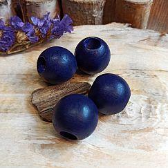 5 grosse Hinoki Holzperlen in dunkelblau lila 24 mm Loch 9 mm