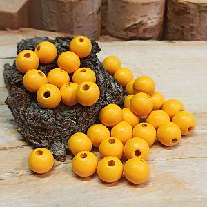 30 Hinoki Holzperlen in sonnengelb 10 mm Loch 2,5 mm