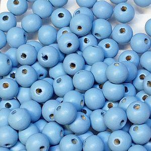 40 Hinoki Holzperlen in hellblau 9 mm Loch 2,5 mm