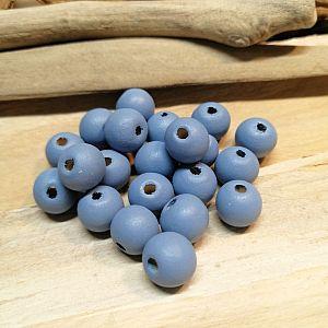 40 Hinoki Holzperlen graublau 10 mm Loch 2,5 mm
