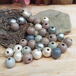 30 Hinoki Holzperlen in pastell hell 10 mm Loch 2 mm