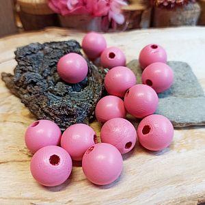 15 Hinoki Holzperlen in rosa 16 mm Loch 3 mm