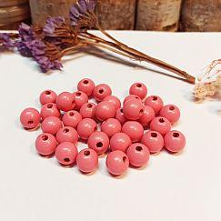 50 Hinoki Holzperlen in rosa 9 mm Loch 2 mm 2.Wahl
