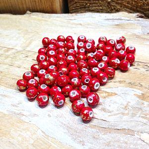 30 Hinoki Holzperlen in rot gold 6 mm Loch 2 mm