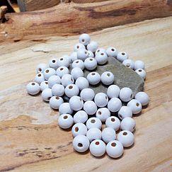 40 Hinoki Holzperlen in weiss 7 mm Loch 2 mm