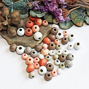 40 Hinoki Holzperlenmix in weiss grau rosa 6 mm Loch 2 mm