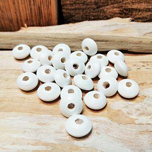 30 Hinoki Holzperlen in weiss 12 x 6 mm Loch 3 mm