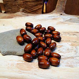 50 Holzperlen Oliven in in braun 10 mm Loch 2 mm