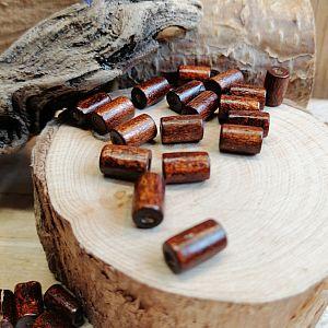 50 Holzperlen Walzen in braun 8 mm Loch 1,5 mm