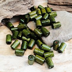 50 Holzperlen Walzen in dunkelgrün 8 mm Loch 1,5 mm