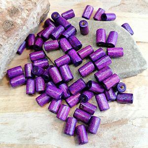 50 Holzperlen Walzen in lila violett 8 mm Loch 1,5 mm