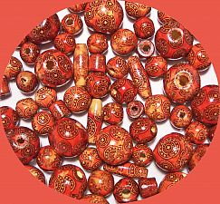 Perlenmix 30 rote Indianerperlen Holzperlen Kinderperlen 10 - 22 mm