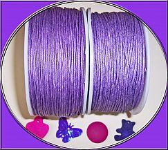 1 Rolle 80 m Perlschnur 1 mm gewachste Baumwolle lila