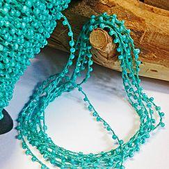 2 Meter Perlenfaden mit Rocaillesperlen türkis 2 mm