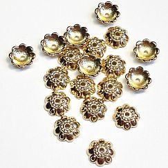 Set mit 30 acrylic Perlkappen gold 10 mm