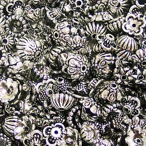 Set mit 80 verschiedenen acrylic Perlkappen silber 6 - 10 mm