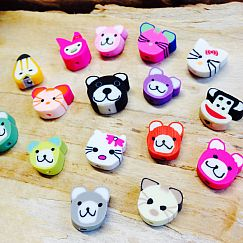 10 Tiere polymer clay Kinder Perlen 15 mm