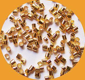 5 g Quetschperlen Metall goldfarbig 2 x 2 mm