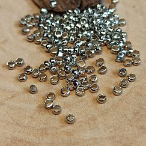 Edelstahl Rondelle Quetschperlen 2 mm silber antik ca. 100 Stück