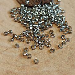 5 g Quetschperlen Rondelle Tonnenform silber antik 2 x 2 mm Loch ca. 1 mm