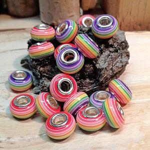 10 Resin Grosslochperlen für Modulketten mit Silberkern Rainbow