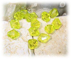 10 schöne große faceted Rhomben Perlen 16 mm neon grün