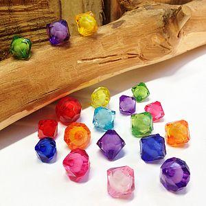 20 schöne große faceted Rhomben Kinder-Perlen mit Füllung 13 mm