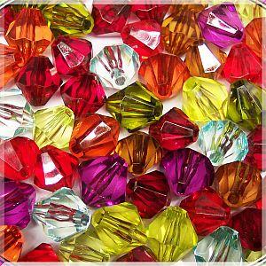 Perlenset 20 große faceted Rhomben Farbmix 16 mm