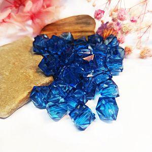 20 facetierte Rhomben Quadrate Kunststoffperlen blau 10 mm