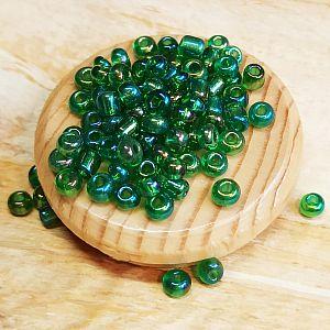 20 g Glasperlen Rocailles grün 3-4 mm feuerpoliert