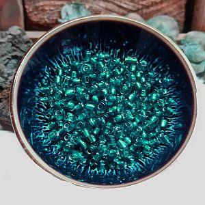 20 g Glasperlen Rocailles smaragdgrün 3-4 mm