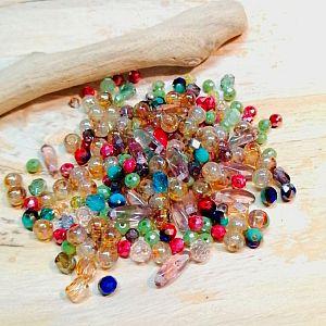 40 Glasperlen Mix Faceted 4 x 3 mm gemischte Farben