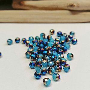 40 Glasperlen Abacus Faceted 4 x 3 mm blau lila