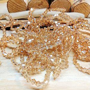 40 Glasperlen Abacus Faceted Rondelle und Rhomben 4 mm champagner