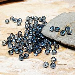 40 geschliffene Glasperlen Abacus Faceted 4 x 3 mm rauchblau