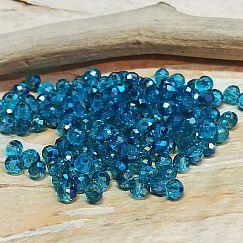 40 Glasperlen Abacus Faceted 4 x 3 mm mittleres blau feuerpoliert