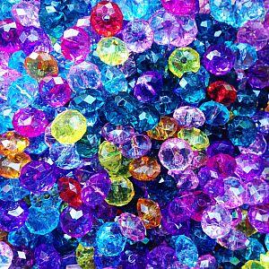 Kinder Perlenset Rondelle 30 fancy faceted Perlenmix 12 mm