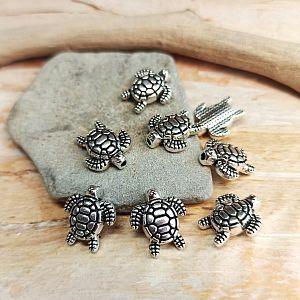 10 Metallperlen Spacer Schildkröte silber antik 13 mm