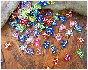 30 schöne Strasseffekt Perlen 11 mm Schmetterling Kinderperlen bunt