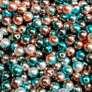 30 Acrylperlen metallisch blau beige besprüht 8 mm Loch 1,5 mm