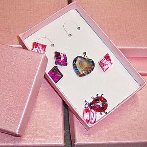 Perlen Sortierbox transparent pink Acryl 17 x 2,5 cm