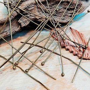 20 Metall Kettelstifte mit Kugel bronze antik 60 mm