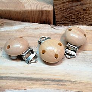 1 Schnullerketten Clip natur Holz