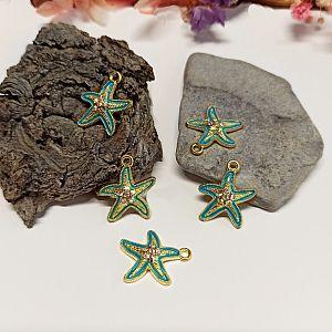 Charm Kettenanhänger Seestern gold Emaille grün mit Strass 19 mm