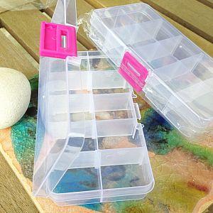 Perlen Sortierbox Acryl Rechteck 14,5 x 6,5 x 2,3 cm