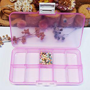 Perlen Sortierbox Acryl Rechteck rosa 12,8 x 6,7 x 2,5 cm