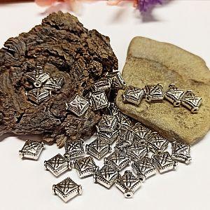 Set 10 Metallperlen Metallspacer Rhombe flach antiksilber 10 mm