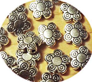 Set 10 Metallperlen Metallspacer rund antiksilber 10x3 mm