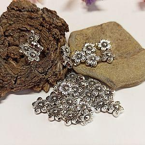 Set 10 Metallperlen Metallspacer Blume antik silber 9 x 3 mm